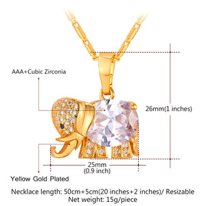 Elephant Necklaces gold or platinum plated with high quality Cubic Zirconia