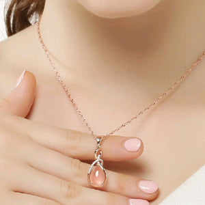 Water drop pink/purple crystal necklaces pendants  women fine jewelry Pendant with stone