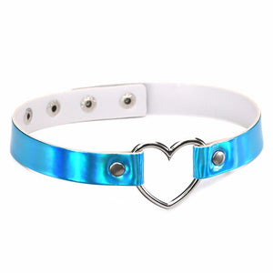 PU Leather choker necklace gift for women Holographic Heart Metal Laser Collar Chocker