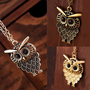 Vintage Women Owl Pendant Long Chain Jewelry Golden Antique Silver Bronze
