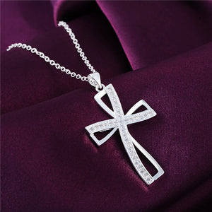 High quality Silver plated Cross Pendant Necklace with Zirkonia