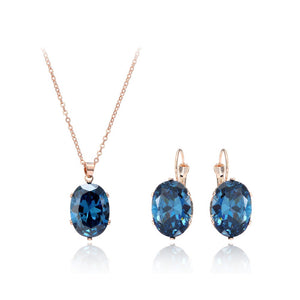 Rose Gold Color Jewelry Sets Big CZ Zircon Stone Pendant Choker Necklace Earrings
