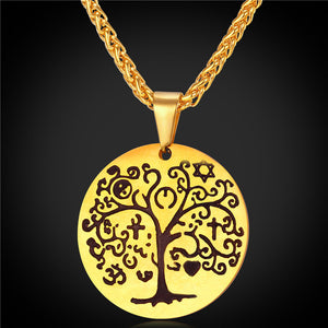 Tree Of Life Necklace gold plated or platinum plated