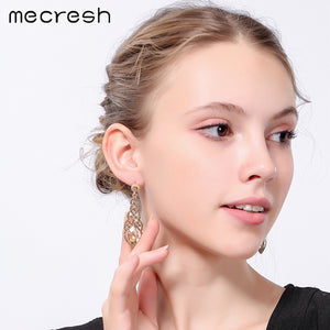 Crystal Rhinestone Long Earrings for Women Silver Champagne Blue Color (3 colors available)