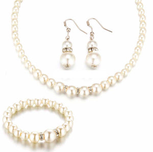 Simulated Pearl Jewelry Set Necklace Bracelet & Earrings