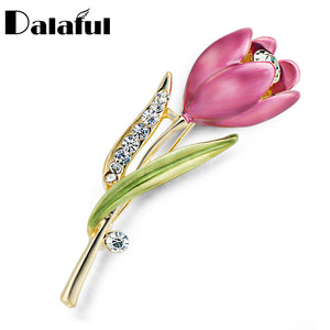 Elegant Tulip Flower Brooch Pin with HQ Rhinestones