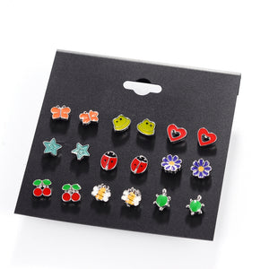 9 Pairs Cute Resin Small Animal Fox Frog Bear Panda Owl Stud Earrings Set For Children Girls
