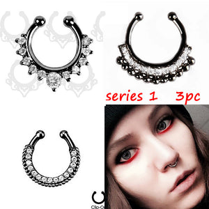 3PCS crystal Black Fake septum Piercing nose ring Hoop For Women