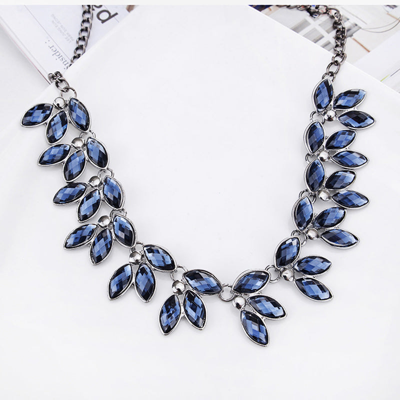 Blue Crystal Statement Power Necklace
