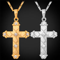 Cross pendant gold plated or platinum with high quality austrian rhinestones