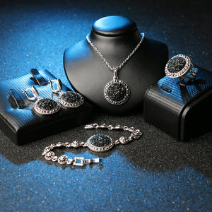 Black Broken Stone Jewelry Set Earrings Necklace Ring & Bracelet