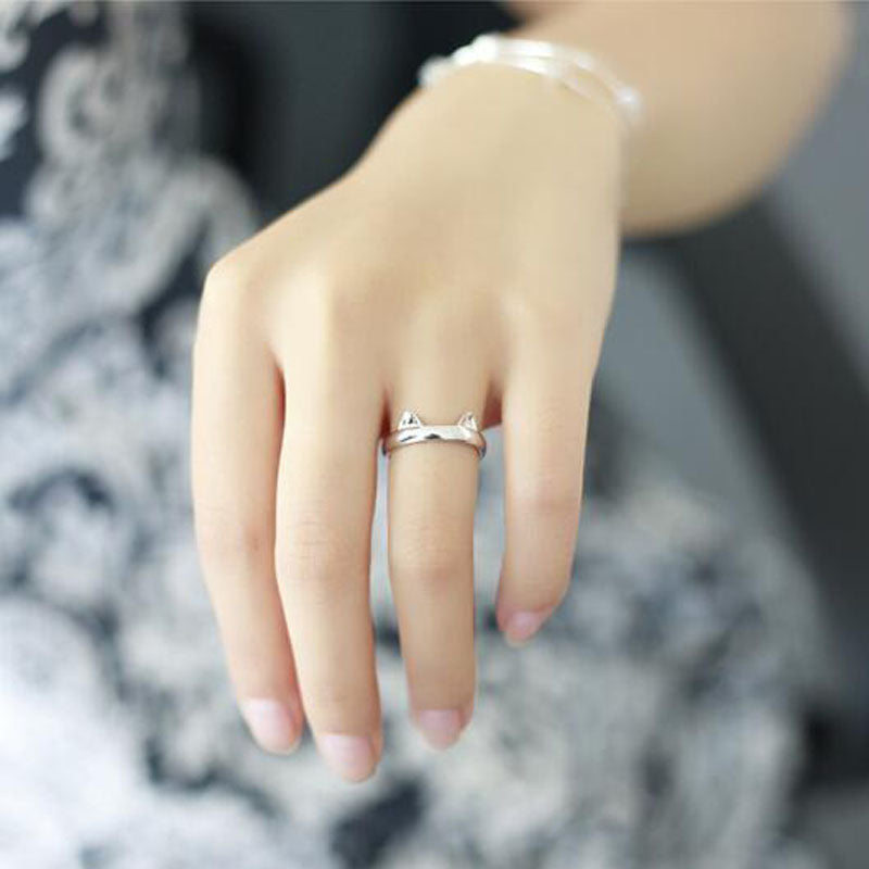 Silver Plated Cat Ring Design Cute Fashion Jewelry Cat Ring For Women and Girls