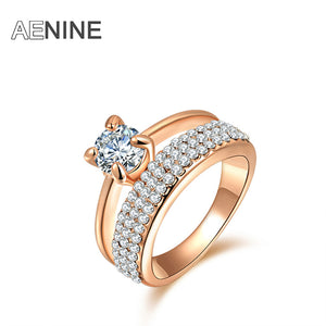Classic AAA Cubic Zirconia Finger Ring Pave Setting Austrian Crystal Rose Gold plated