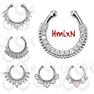 3 PCS crystal Fake septum Piercing nose ring Hoop For Women silver plated