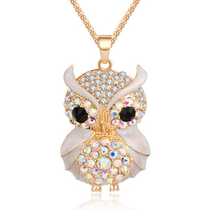 Owl Pendant Necklace Vintage Style with Rhinestone with Long Chain Necklace for Women