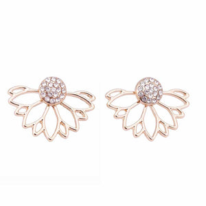 Lotus Crystal Jacket Flower Stud Earrings For Women