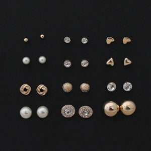 12 pairs sets Round Square Ball Alloy Crystal Stud pearl Earrings For Women