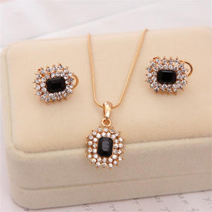 Luxury Golden Plated Chain Necklace Rhinestone Jewelry Set (many colors available)