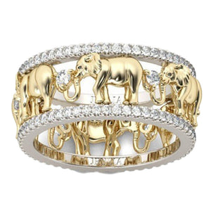 Antique Gold Color 3D Elephant Ring with High Quality Zirconia