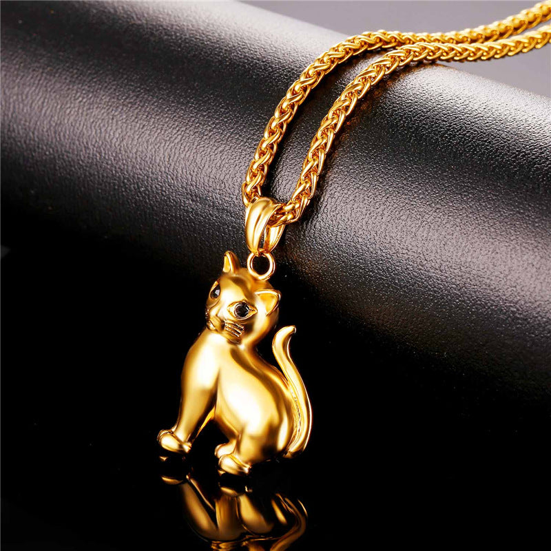 Cat necklace 316 L stainless steel or gold plated