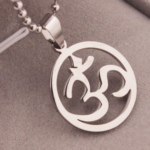 Aum Om Buddha Pendant Necklace Stainless Steel
