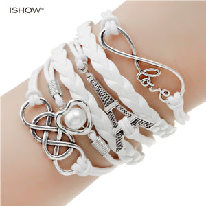 double leather & multilayer Charm bracelet many variations Love Heart Anchor Infinity Feather