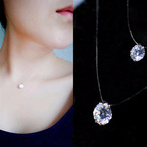 Transparent Invisible Line Super Shinning Zirconia Choker Luxury Jewelry Necklace For Women