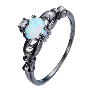 Elegant Heart Cut Rainbow Opal Claddagh Ring White CZ Zirkonia Black Gold Filled