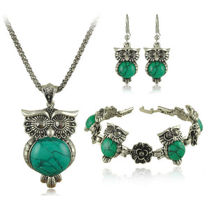 Owl Jewelry Set Tibetan Vintage Stone Necklace Earring Bracelet Set