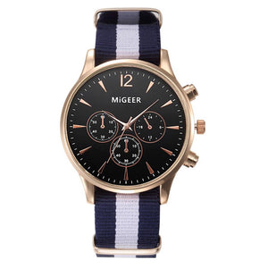 Luxury Fashion Black & White Strap Men Quartz Watch