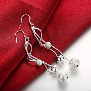 silver plated Twisted Beads drop earrings for women