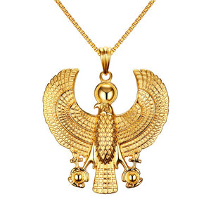 Men Necklaces Egyptian Horus Ankh Pendant Necklace Stainless Steel gold plated