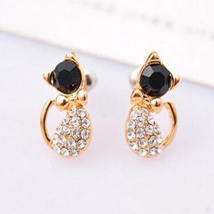 Animal Cute Crystal Bow Rhinestone Kitty Cat Stud Earrings For Women