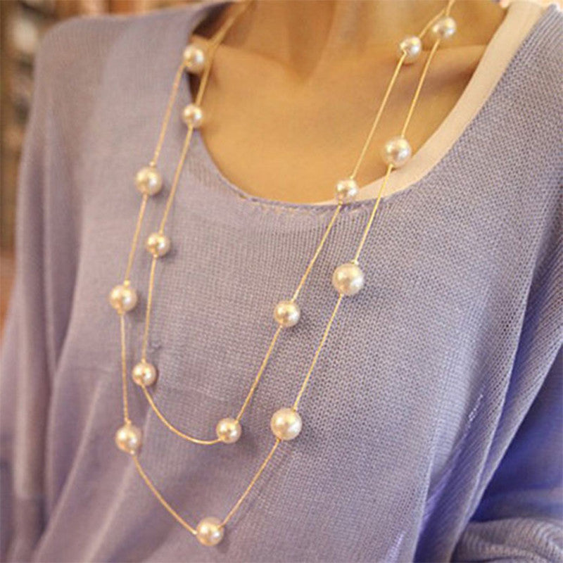 TOP Long Double Layers Chain Imitation Pearl Charm Power Necklace Statement Jewelry