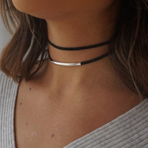 Bending tube Velvet Choker Necklace Double layer Style