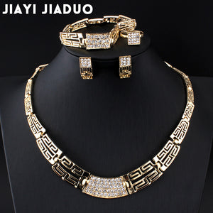 African Beads Jewelry Set gold plated with Rhinestones