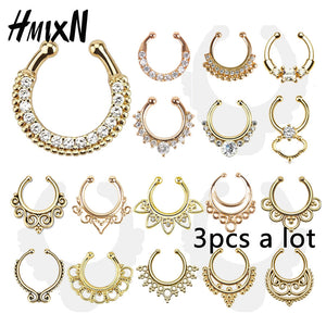 3PC crystal fashion clicker fake septum For Women Body Clip Hoop vintage fake nose ring gold plated