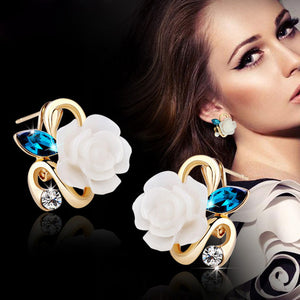 5 colors optional fashion crystal flower earrings Exquisite quality classic gold-color rose earrings