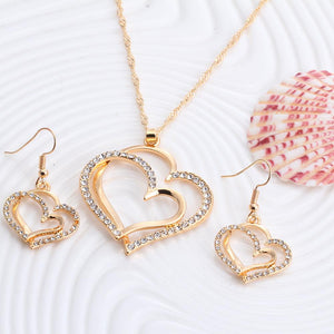 Romantic Heart Crystal Earrings Necklace Set Silver or Gold Color