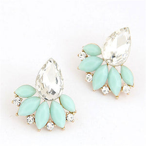 Design Retro Exquisite Women Acrylic Flower Crystal Gem Cubic Zircon Stud Earrings For Women