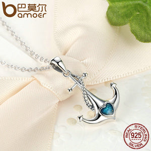 Anchor Pendant Necklace Pure 925 Sterling Silver Blue Heart Zirconia High Quality!