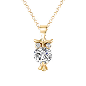 Beautiful Chain Necklace Zircon Owl Pendants Silver or gold Color For Women