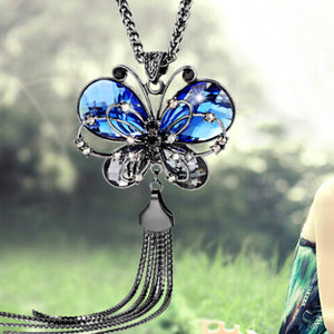Butterfly Pendant Tassels Necklace With High Quality Rhinestones