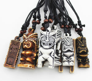 8 PCS Maori/Hawaiian Style Imitation Bone Carved TIKI Pendants Necklace  one for each day