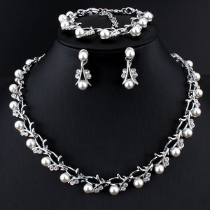 Imitation Pearl jewelry set for women Pendant Necklace Bracelet & Earrings