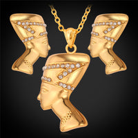 Nefertiti Jewelry Set Necklace Earrings gold plated/platinum plated with high quality rhinestones