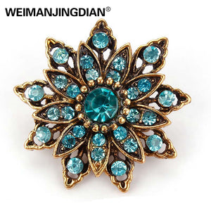 Vintage Gold Plated with Rhinestones Flower Antique Brooch for Women (many variations)