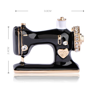 Sewing Machine Brooch Black Enamel Brooch with Rhinestones