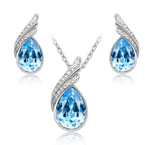 Austrian Crystal Jewelry Sets For Women Fashion Stud Earrings & Necklace Women Silver Plated