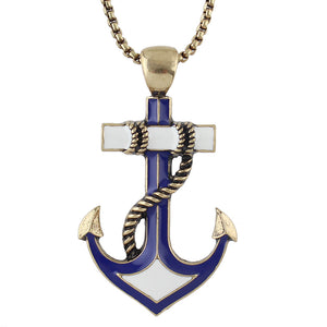 Anchor Necklace for women with Long Gold Antique Gold Chain